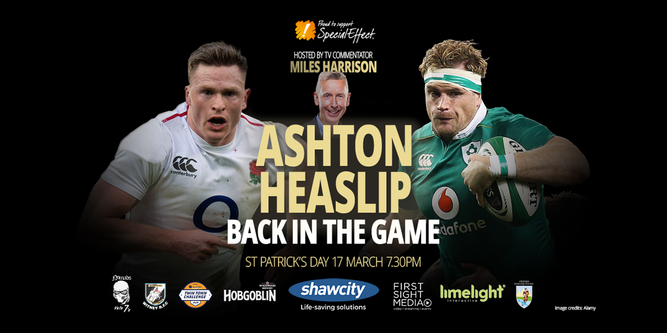 Two rugby players, titles and sponsor names