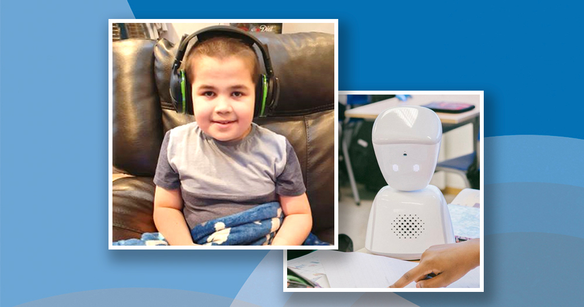 tw images: smiling boy wearing headhones, and a small robot