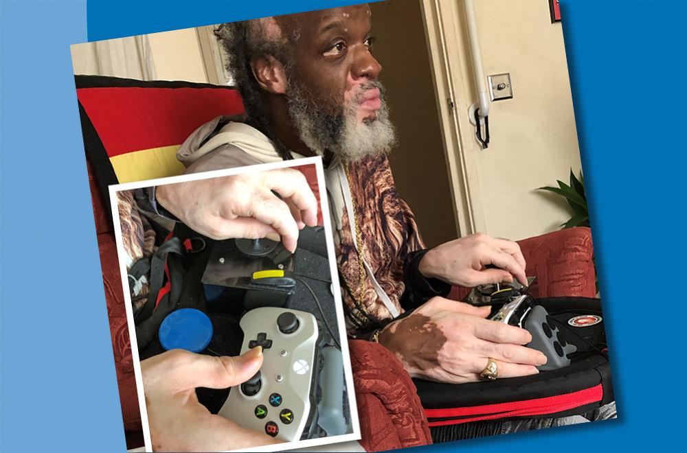 Man using adapted gaming setup