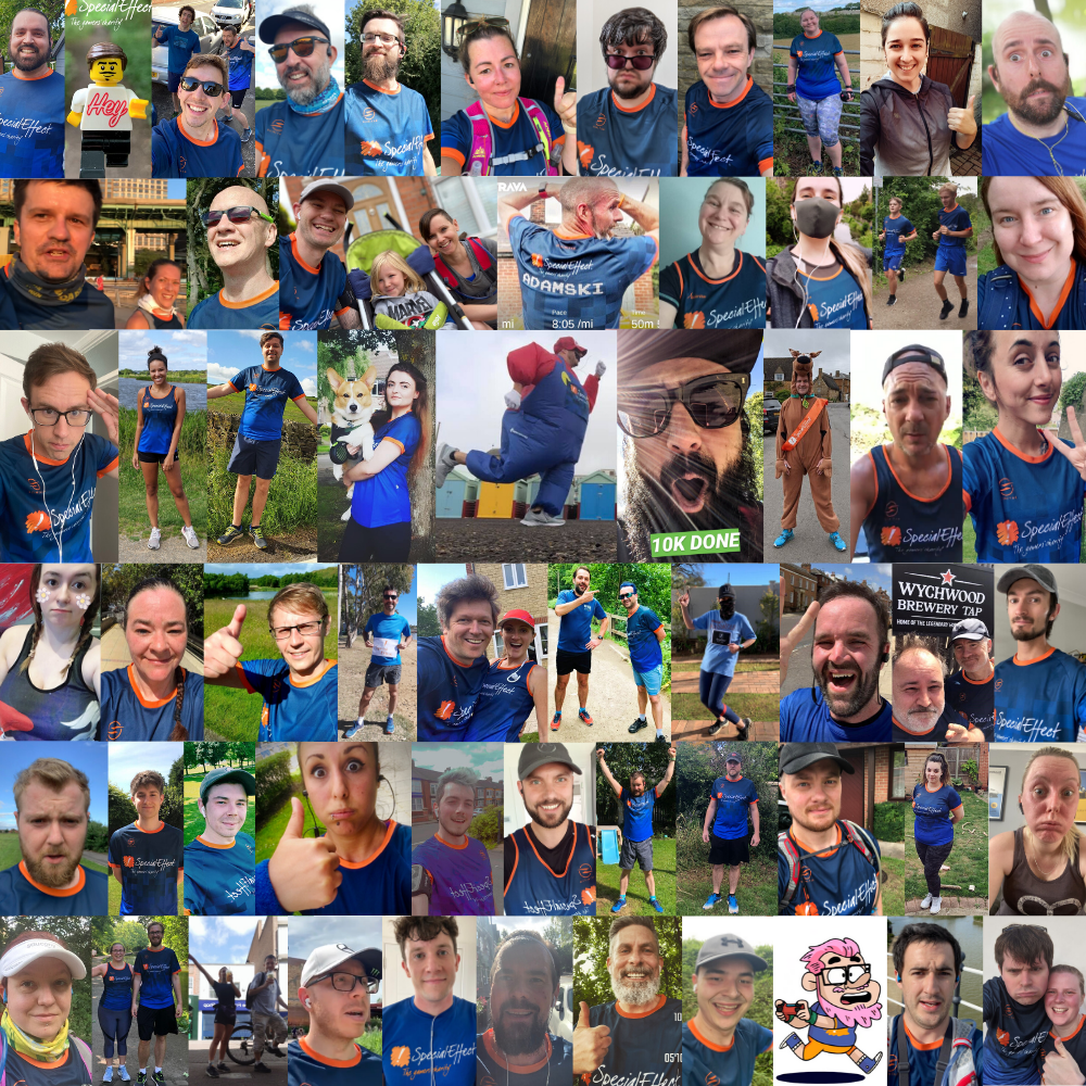 Montage of around 70 runners