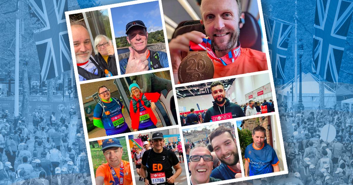 Montage of marathon runners